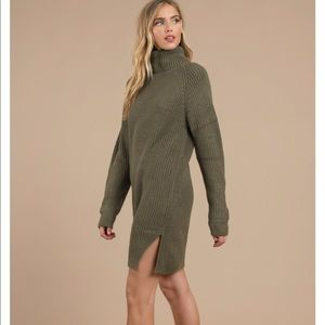 Army green turtle neck sweater dress